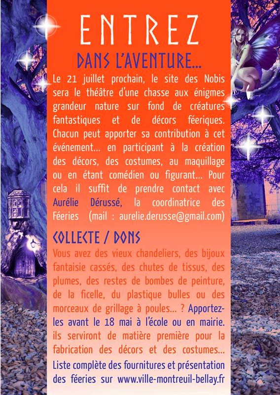 21/07 : LES FÉERIES DE MONTREUIL-BELLAY : ESCAPE GAME ET ANIMATIONS AUX NOBIS