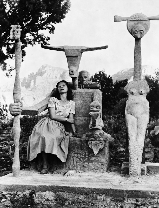 Dorothea Tanning and Max Ernst with his sculpture, Capricorn, 1947  © John Kasnetsis