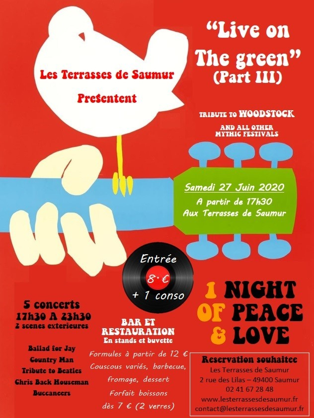 "28/06 : FESTIVAL AU BAM CLUB DES TERRASSES DE SAUMUR : ""LIVE ON THE GREEN"" TRIBUTE TO WOODSTOCK"