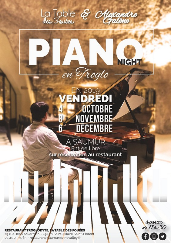 04/10 : PIANO NIGHT EN TROGLO À LA TABLE DES FOUÉES À SAUMUR